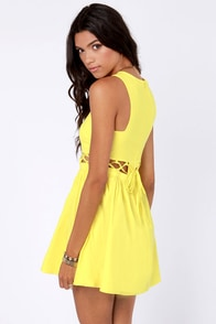 Sew What? Cutout Yellow Dress at Lulus.com!