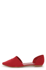 Chinese Laundry Easy Does It Red D'Orsay Pointed Flats at Lulus.com!