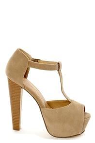 Brina 01 Taupe T-Strap Peep Toe Platform Heels at Lulus.com!