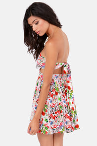 Friendly Briar Strapless Ivory Floral Print Dress at Lulus.com!