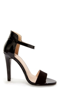 My Delicious Stick Black Patent and Suede High Rise High Heels at Lulus.com!