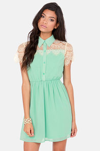 Sugar on Top Mint Green Lace Dress at Lulus.com!