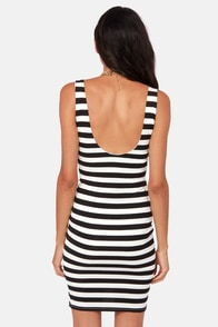 Glad We Met Black and Ivory Striped Dress at Lulus.com!