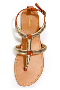 Promise Guide Brown and Gold-Wrapped T-Strap Thong Sandals at Lulus.com!
