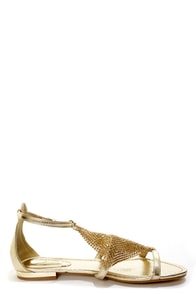 Dior 01 Gold Chain Mail T-Strap Sandals at Lulus.com!