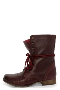 Steve Madden Troopa Wine Leather Lace-Up Combat Boots