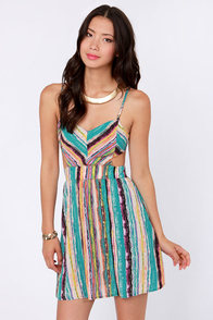Strokes of Genius Teal Striped Dress at Lulus.com!