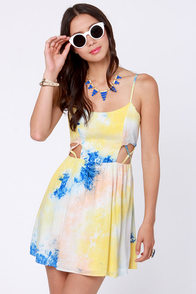 Tie-Dye Caramba Blue and Yellow Print Dress at Lulus.com!
