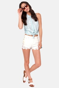 Hot and High Lace-ted Ivory Lace Jean Shorts at Lulus.com!