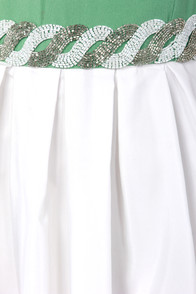 TFNC Choti Beaded Ivory and Green Dress at Lulus.com!