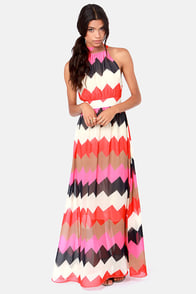 Chev-Rendezvous Red and Fuchsia Striped Maxi Dress