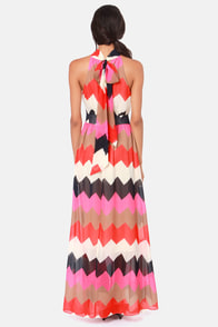 Chev-Rendezvous Red and Fuchsia Striped Maxi Dress at Lulus.com!
