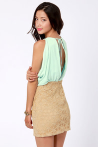 Two-Laced Mint and Beige Lace Dress at Lulus.com!