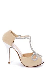 Tiara 1 Camel and Silver Rhinestone T-Strap High Heels at Lulus.com!