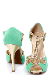 Tiara 1 Mint and Gold Rhinestone T-Strap High Heels at Lulus.com!