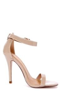My Delicious Chacha Dark Beige Patent Single Strap High Heels at Lulus.com!