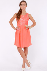 Cute Your Fancy Coral Lace Dress at Lulus.com!