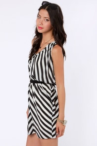 Top of the Incline Black and Ivory Striped Dress at Lulus.com!