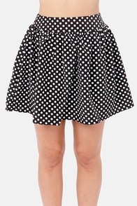 Elementary, My Dear Spot-son Black Polka Dot Skirt at Lulus.com!