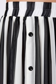 Spy vs. Spy Black and Ivory Striped Maxi Skirt at Lulus.com!