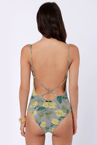 Obey Debbie Grey and Yellow Floral Print Bodysuit at Lulus.com!