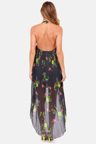 Lost Cora Charcoal Grey Floral Print Halter Dress at Lulus.com!