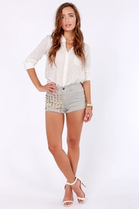 Lost Release Studded Grey Jean Shorts at Lulus.com!
