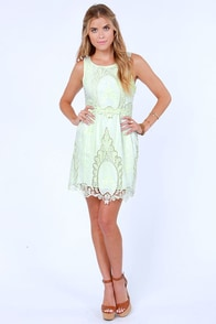 Black Sheep Blooming Pale Light Green Lace Dress at Lulus.com!