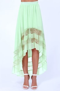 Black Sheep Rosalind Mint Green High-Low Skirt at Lulus.com!