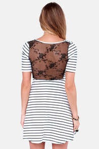 The Coast is Sheer White Striped Lace Dress at Lulus.com!