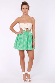 Elementary, My Dear Spot-son Mint Green Polka Dot Skirt at Lulus.com!