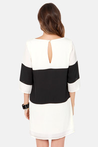 LULUS Exclusive Citrus Grove Black and Ivory Shift Dress at Lulus.com!