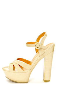 Shoe Republic LA Scent Nude Patent Peep Toe Platform Sandals at Lulus.com!