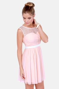 Heir to the Throne Lace Blush Pink Dress at Lulus.com!