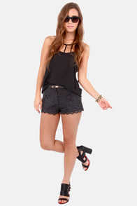 Just Duet Black Vegan Leather and Lace Shorts at Lulus.com!