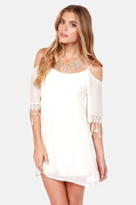 Slide and True Off-the-Shoulder Cream Dress