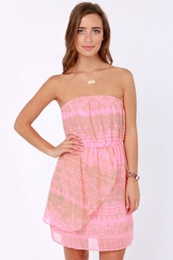 O'Neill Hunter Strapless Neon Pink Print Dress at Lulus.com!