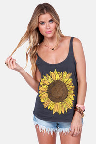 O'Neill Trippin Grey Sunflower Tank Top at Lulus.com!