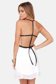Want You Back Black and Ivory Belted Dress