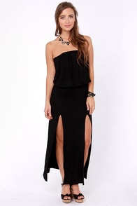 Maximum Advantage Strapless Black Maxi Dress at Lulus.com!