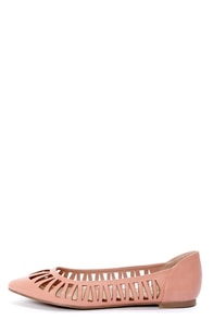 Dia 01 Blush Pink Cutout Pointed Flats at Lulus.com!