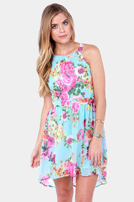 Best Buds Blue Floral Print Lace Dress at Lulus.com!