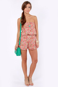 Carnation-al Treasure Red Floral Strapless Romper at Lulus.com!