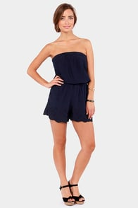 Calm and Collected Strapless Navy Blue Romper at Lulus.com!