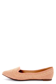 Vena 03 Blush Pink Studded and Pointed Smoking Slipper Flats