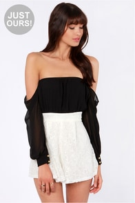 LULUS Exclusive I Love Lacy Black and Ivory Lace Romper at Lulus.com!
