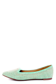Vena 03 Mint Studded and Pointed Smoking Slipper Flats