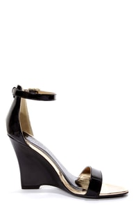 Madden Girl Yolandi Black Patent Single Strap Wedges at Lulus.com!