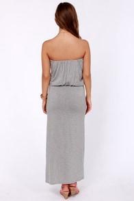 Maximum Advantage Strapless Grey Maxi Dress at Lulus.com!