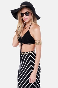 Gypsy Junkies Sunshine Black Crochet Halter Top at Lulus.com!